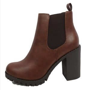 Brown Chelsea Pull on Tab Lug Block Ankle Boot